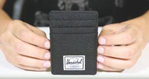 Cartera Herschel modelo raven. Cartera pequeña para hombre estilo minimalista. Esta es negra y rectangular