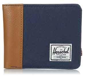 cartera herschel modelo edward wallet en azul marino y marron