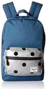 mochila herschel para niños de color azul con el bolsillo frontal en gris con lunares negros. Preciosa mochila escolar herschel