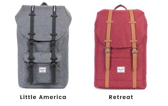 foto comparativa de una mochila herschel retreat roja y una little america gris
